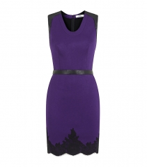 Robert Rodriguez purple leather trim dress at Harrods