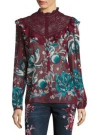 Roberto Cavalli - Silk Floral Lace Blouse at Saks Fifth Avenue