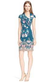 Roberto Cavalli Asymmetrical Neck Floral Print Jersey Dress at Nordstrom