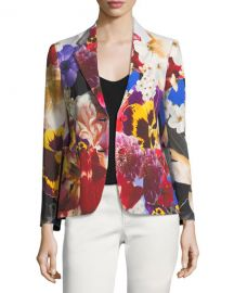 Roberto Cavalli Floral-Print Single-Breasted Blazer at Neiman Marcus