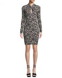Roberto Cavalli Long-Sleeve Twist-Neck Leopard-Print Body-Con Mini Dress at Neiman Marcus