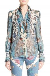 Roberto Cavalli Patchwork Print Silk Top at Nordstrom