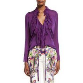 Roberto Cavalli Ruffled Self-Tie Silk Blouse  Violet at Neiman Marcus