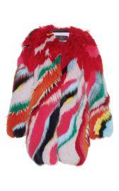 Roberto Cavalli Striped Intarsia Fur Coat at Moda Operandi