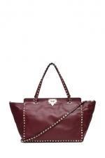 Rockstud tote in Prun by Valentino at Forward by Elyse Walker