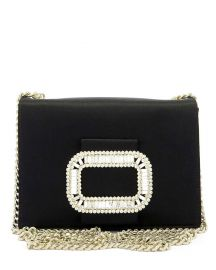 Roger Vivier Pilgrim Micro Satin Chain Shoulder Bag  Black at Neiman Marcus