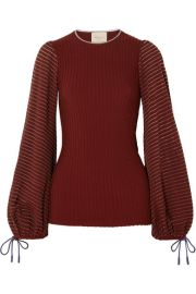 Roksanda   Saida tulle-paneled stretch-jersey and ribbed-knit top at Net A Porter