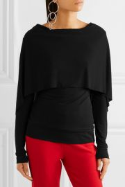 Roland Mouret   Bagnet cape-effect stretch-crepe top at Net A Porter