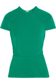 Roland Mouret  Cymatia paneled stretch-crepe top at Net A Porter