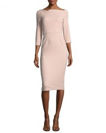 Roland Mouret Boat-Neck 3 4-Sleeve Sheath Dress at Neiman Marcus