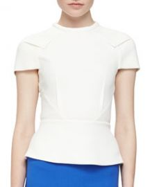 Roland Mouret Cymatia Angled Peplum Top Off White at Neiman Marcus
