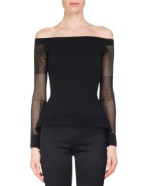 Roland Mouret Leafield Lace-Sleeve Sculpted Knit Off-the-Shoulder Top at Neiman Marcus
