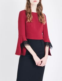 Roland Mouret Liverton lace-trim wool-crepe top at Selfridges