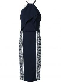 Roland Mouret Navy Blue Side Print Halterneck Dress at Farfetch