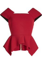 Roland Mouret Wool Top with Peplum at Stylebop