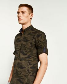 Rolled Tab Sleeve Camouflage Shirt at Zara