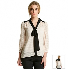 Romeo and Juliet Couture Cream Burnout Blouse at Bonton