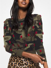 Rose Embroidered Camouflage Cashmere Pullover by Michael Kors at Michael Kors