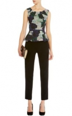 Rose Print Peplum Top at Karen Millen