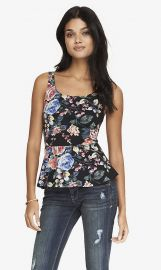 Rose Print Peplum Top at Express