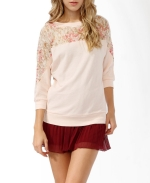 Rose lace french terry top at Forever 21 CA
