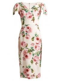 Rose-print V-neck stretch-cady dress at Matches