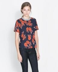 Rose print blouse at Zara