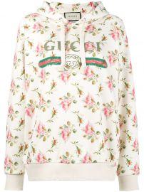 Rose print fake logo hoodie gucci at Farfetch