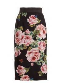 Rose-print stretch-silk skirt at Matches