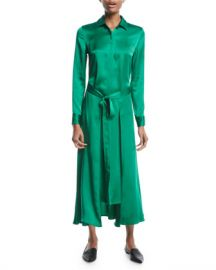 Rosetta Getty Long Apron-Wrap Long-Sleeve Button-Front Crepe Back Satin Shirtdress at Neiman Marcus