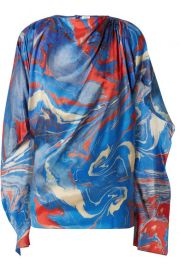 Rosie Assoulin   Cape-effect marbled crepe de chine top at Net A Porter