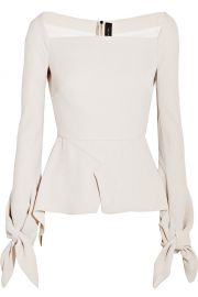 Rouland Mouret Wicklow knotted textured-crepe peplum top at Net A Porter