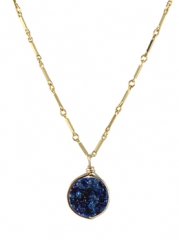 Round Drusy Pendant Necklace at Peggy Li