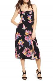 Row A Retro Print Side Slit Midi Sundress   Nordstrom at Nordstrom