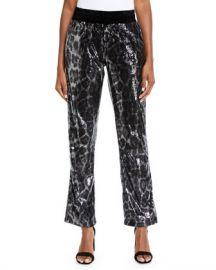 RtA Ash Sequin Leopard-Print Jogger Pants at Neiman Marcus