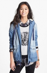 Rubbish Faux Shearling Hooded Denim Jacket at Nordstrom