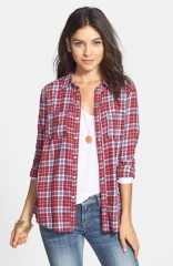 Rubbish Plaid Cotton Shirt in red at Nordstrom