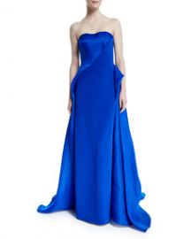Rubin Singer Strapless Draped Ball Gown Royal at Neiman Marcus