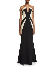 Rubin Singer Strapless Two-Tone Mermaid Gown  Black Ecru at Neiman Marcus