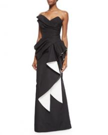 Rubin Singer Strapless Two-Tone Pleated Gown BlackWhite at Neiman Marcus