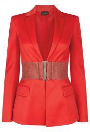 Rubine Virgin Wool Jacket with Swarovski Belt by La Perla at La Perla