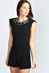 Ruby Embellished Playsuit at Boohoo