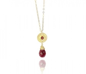 Ruby Gold Medallion Necklace at Abrau Jewelry