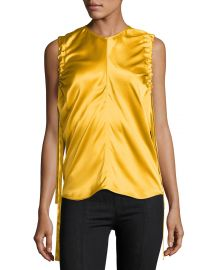 Ruched Armhole Sateen Silk Tank at Neiman Marcus