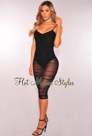 Ruched Mesh Bodysuit Dress by Hot Miami Styles at Hot Miami Styles