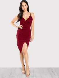 Ruched Overlap Form Fitting Cami Dress by Shein at Shein