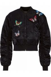 Ruched embellished shell bomber jacket at The Outnet