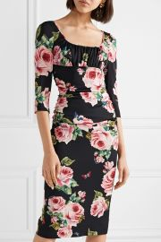 Ruched floral-print stretch-silk charmeuse midi dress at Net A Porter