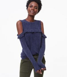 Ruffle Cold Shoulder Sweater at Loft
