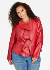 Ruffle Front Faux Leather Jacket by Ashley Stewart at Ashley Stewart